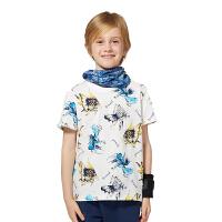 探路者TOREAD品牌童装 户外运动 夏装男童满印圆领儿童短袖T恤