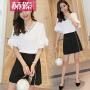 【赫��】2017夏季新款女装白色宽松V领刺绣雪纺衫短袖套头打底上衣H6742