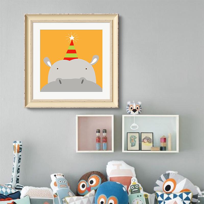 动物总动员 壁画有框画清新现代简约儿童房餐厅背景墙装饰画_河马,38*