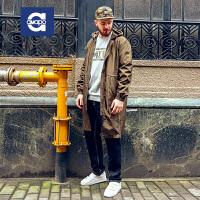 AMAPO潮牌大码男装 中长款风衣男士连帽外套薄款纯色上衣春季新品