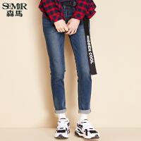 森马水洗牛仔裤 冬装 女士中低腰修身小脚牛仔九分裤韩版