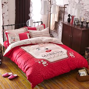 OLYI 纯棉床上用品四件套 全棉斜纹活性印花床单式家纺四件套 爱巢床品四件套 床上四件套