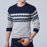 秋款韩版休闲修身针织衫男士圆领套头针织衫男款毛衣潮