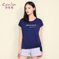 康妮雅睡衣女士夏天运动套装韩版个性休闲家居服外穿短袖短裤套装