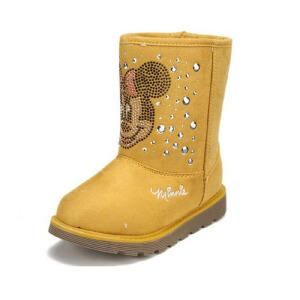 鞋柜SHOEBOX冬款女童黄色米妮图案铆钉休闲加绒加厚雪地靴