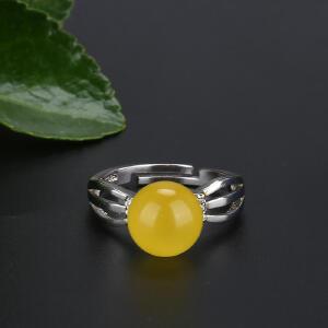 戴和美 精选天然琥珀蜜蜡S925银镶嵌蜜蜡圆珠戒指(附鉴定证书)