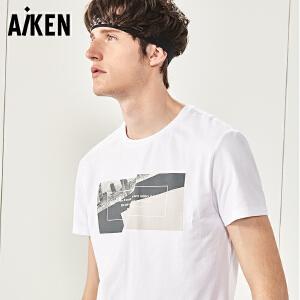 Aiken青年T恤男式2017夏装新款圆领修身半袖上衣潮牌白色休闲体恤