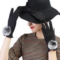 手套女冬可爱兔毛球韩版绒布手套冬季保暖厚开车女士手