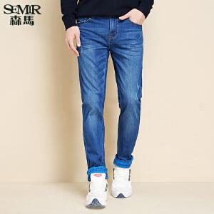 森马水洗牛仔裤 冬装 男士中低腰磨白翻边牛仔长裤韩版潮