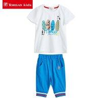 探路者童装 儿童短袖T恤两件套2017夏季新款男女童纯棉针织短裤套装