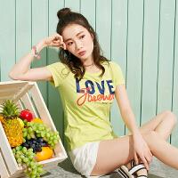 森马短袖T恤女2017夏装新款学生字母撞色印花圆领套头打底上衣潮