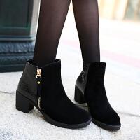 彼艾2016老北京布鞋时尚潮流秋冬短靴女英伦女鞋中跟短筒女靴