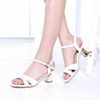 戈美其夏季新款凉鞋韩版性感 露趾粗跟简约扣带女凉鞋1613036