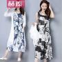 【赫��】2017夏装棉麻大码女装水墨画连衣裙两件套文艺民族风裙H6637