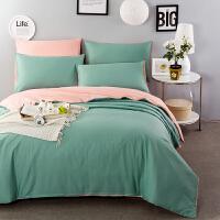纯色四件套纯棉2.0m床双人加厚床单被套床上用品1.8全棉单人学生宿舍三件套