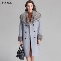 秋冬新款女士长款外套水貂披肩领双排扣系带收腰羊毛呢大衣M-616350