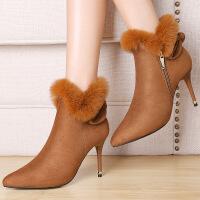 莫蕾蔻蕾秋鞋女鞋裸靴尖头单鞋高跟鞋细跟防水台短靴女单靴6D629