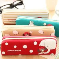 韩版简约帆布铅笔袋 普拉女孩大容易文具盒 韩国可爱复古方形笔袋