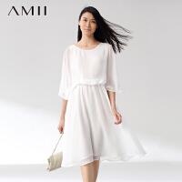 【AMII超级大牌日】[极简主义]夏新品飘逸雪纺拼接蕾丝蝴蝶袖修手臂连衣裙11470135
