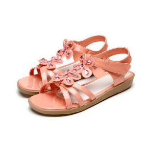 鞋柜SHOEBOX 女童可爱优雅气质淑女小坡跟波点花骨朵童鞋凉鞋