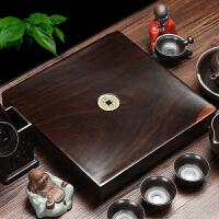 思故轩小号木制茶托茶具整块原木红木茶台排水式 黑檀木实木茶盘CP2688