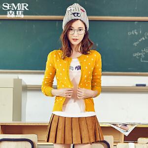 森马针织衫秋装女士简约休闲复古波点毛衣线衫开衫韩版学生百搭潮