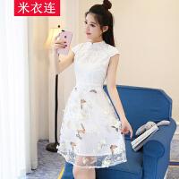 米衣连女装夏装韩版修身高腰连衣裙女中裙蕾丝短袖旗袍欧根纱裙子
