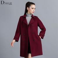 秋冬时尚韩版中长款外套双排扣双面羊毛呢大衣女装C16019