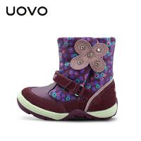 【满200减100】UOVO2017 蝶 真皮女童童鞋 中筒雪地靴中童毛绒儿童靴