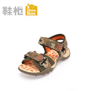 鞋柜夏新款男童鞋 迷彩魔术贴凉鞋