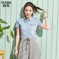 森马短袖牛仔衬衫女 韩版2017夏季新款 学生纯色上衣修身衬衣寸衫