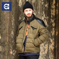 AMAPO潮牌大码男装 胖男士加大码冬季保暖外套PU拼接拉链棉袄衣服