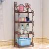 索尔诺铁艺浴室置物架 落地卫生间脸盆架 洗手间厨房收纳储物架层架Z674