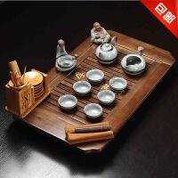w思故轩功夫茶具茶盘实木茶海茶台 哥窑冰裂陶瓷整套茶具套装CJT1702