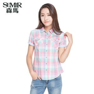 森马夏装新款短袖衬衫女装通勤方领拼接格子翻领女韩版上衣潮