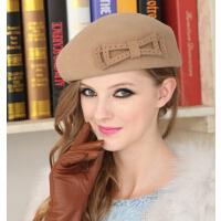 韩版春秋冬季贝雷帽羊毛呢帽礼帽 可爱时尚蝴蝶结 女帽子女英伦