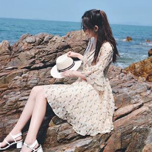 【满200减100】碎花雪纺连衣裙女装韩版2017夏季新款甜美高腰显瘦A字裙子潮