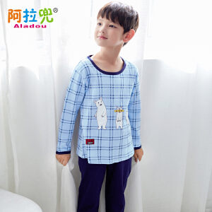 阿拉兜 2017夏季纯棉儿童睡衣 男孩开衫短袖长裤居家服 大童套装 3379