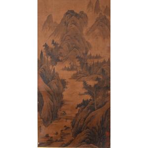 1504      李成  《深山垂钓图》   多位名家收藏章