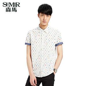 森马夏装新款男士印花短袖衬衫 韩版 棉衬衣夏季不规则印花