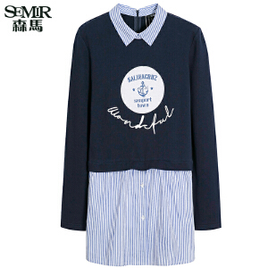 森马长袖衬衫 秋装 女士翻领字母印花t恤宽松假两件韩版