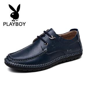 花花公子 男士休闲鞋新款英伦休闲鞋系带单鞋透气潮流男鞋 征-CX39107