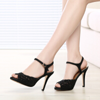 GEMEIQ/戈美其夏季新品欧美细高跟鞋镶网面高跟水钻女鞋凉鞋