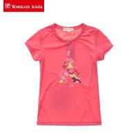 探路者Toread kids夏季新款 女童图案圆领短袖T恤