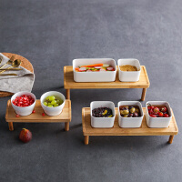 奇居良品 北欧简约日式陶瓷木器底托小食碟套装 多款
