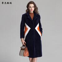 女装新款冬季时尚翻领中长款抗寒保暖羊剪绒皮草大衣外套