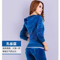 女春秋韩版休闲开衫天鹅绒运动卫衣外套套装运动服套装