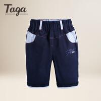 【满200-100】TAGA童装 夏季新款男童短裤男童五分裤针织纯棉裤子下装修身裤