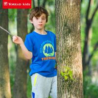 探路者童装夏装男童女童速干上衣印花圆领儿童户外运动短袖T恤