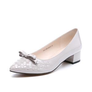 GEMEIQ/戈美其春新款优雅蝴蝶结单鞋漆皮中跟粗跟正装鞋